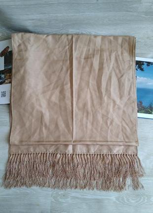 Большой бежевый шарф палантин 100%шелк