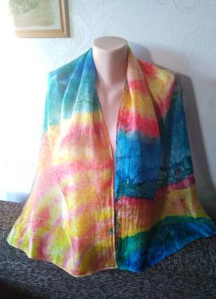 Натуральный шелк, нежный летящий шарфик, 40*144