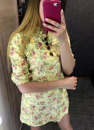 Желтое платье туника рубашка в цветочный принт