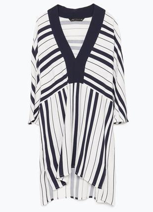 Стильная белая блуза туника в темно-синюю полоску zara длинная полосатая блузка