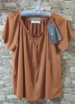 Блуза, цвет карамельный персик, l-xl, cache cache , франция