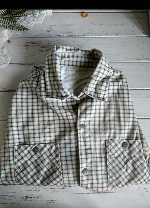 Винтажная рубашка в клетку сорочка винтаж 100% котон