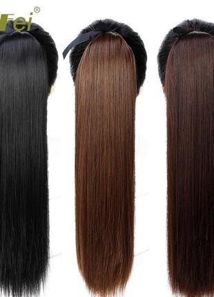 Хвост накладных волос на липучке шиньон парик