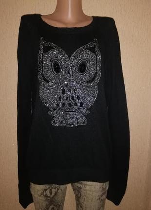 Стильная теплая женская кофта, свитер, джемпер с совой h&m