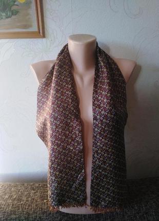 Натуральный шелк, двухслойный двухсторонний шарфик с бахромой, 120*18