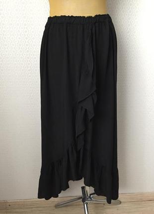 Новая (с этикеткой) черная юбка с оборкой из 100% вискозы от zebra, размер   l