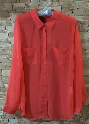Блуза,цвет  красной садовой гвоздики, l, cache cache, франция