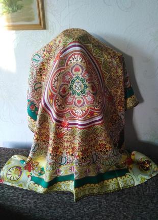 Wittchen, элитный бренд аксессуаров, натуральный шелк, красочный платок, 85*87