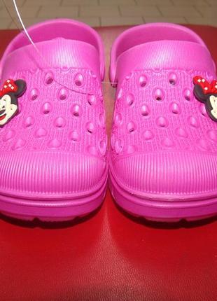 Кроксы детские розовые с минни а-2874.размеры:24,25,26,27,28,29,30/31,32/33.