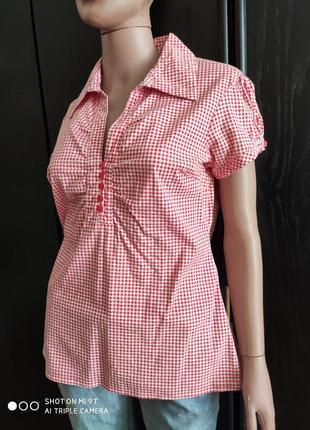 Хлопковая летняя блузка vero moda в мелкую клетку