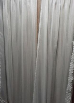 Белая гардина на шторной ленте  (комплект 2шт )