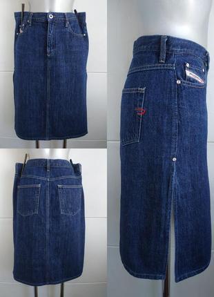 Стильная джинсовая юбка diesel модного кроя с боковыми разрезами