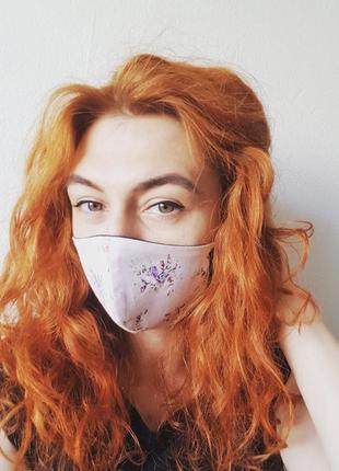 """Легкая двусторонняя многоразовая маска """"цветы"""""""