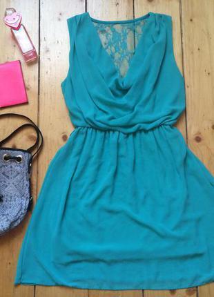 Шифоновое бирюзовое платье