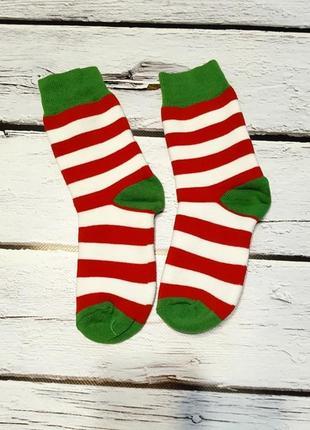 Теплые махровые носки в полоску полосатые как у ельфа новогодние