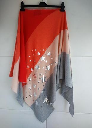 Стильный  шарф, косынка со звёздами шерсть м кашемиром