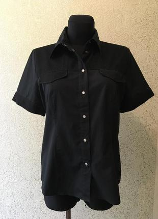 Базовая чёрная рубашка с коротким рукавом/блуза/тениска