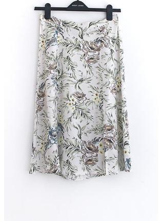 Легкая юбочка с разрезами из натуральной ткани new look