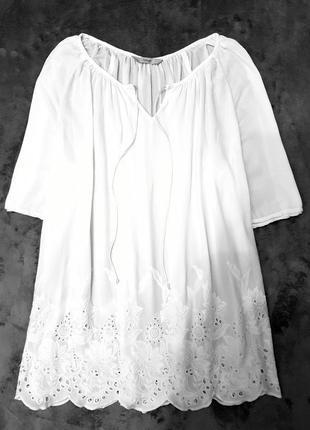 George блуза блузка белая прошва вышиванка 44 46 xxl xxxl пог 60 см