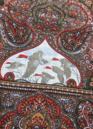 Шерстяной колоритный платок.