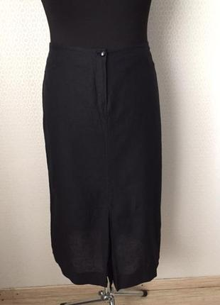 Черная льняная (52%) юбка лен, хлопок, ecko, италия, размер укр примерно 50-52-54