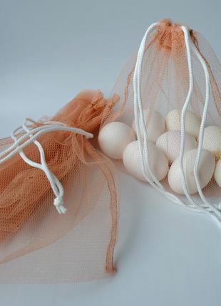 Эко мешочек из сетки бежевый, эко торбочка, мешок для продуктов, фруктовка