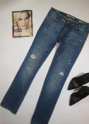 Класические джинсы с потертостями прямого кроя zara premium