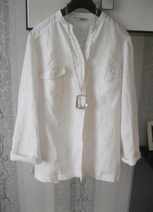 Льняная рубашка блуза пиджак кардинан лён батал 18