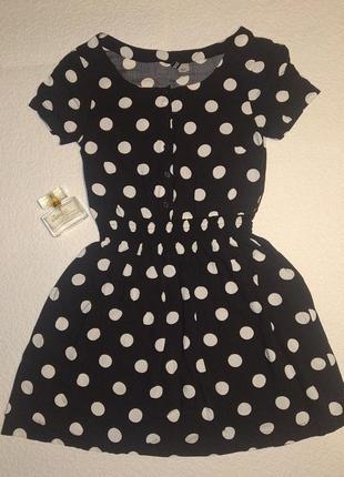 Черное платье в горошек h&m