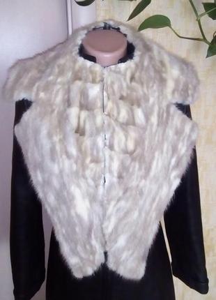 Красивенный огромный 100 % норковый воротник/ жилетка/куртка/шуба/норка/меховая жилетка