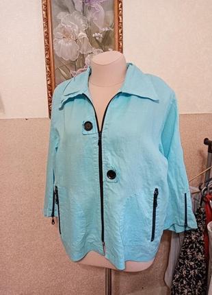 Шикарный, небесно -голубой жакет, курточка из льна на лето!