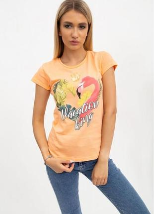 Футболка женская персиковая, с рисунком