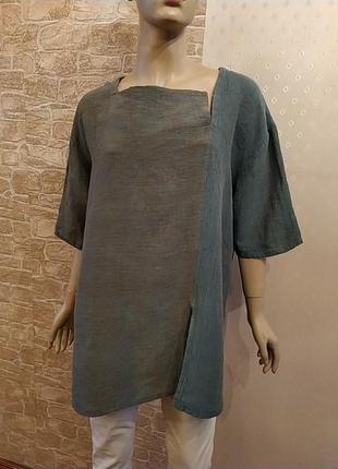 Шикарная двухцветная туника блуза лен вискоза