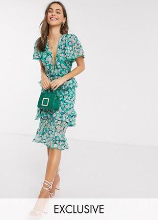 Нереально женственное потрясающее платье asos в цветы с рюшами и помпонами!