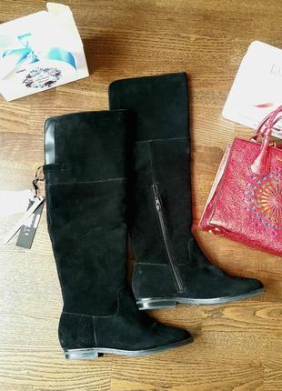 Сапоги ,чоботи ботфорды весна/осень или  теплая зима из натуральной замши 37 размер