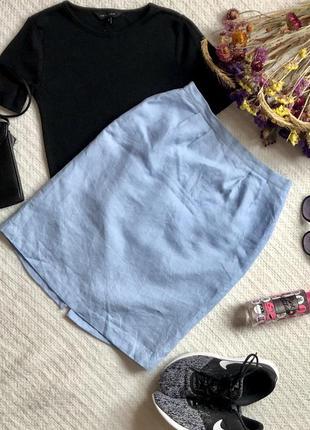 Юбка из льна с завышенной посадкой голубого цвета