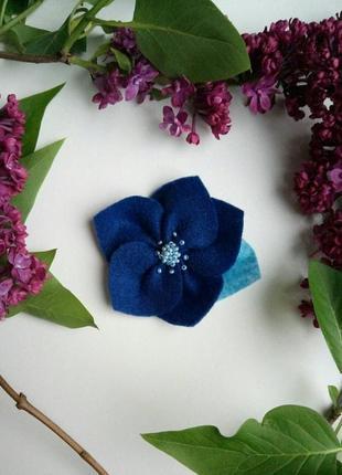 Детская заколка для девочки, квітка, цветок, синя, синяя, резінка, резинка, для волос!