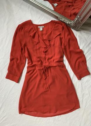 Платье рубашка с рюшем