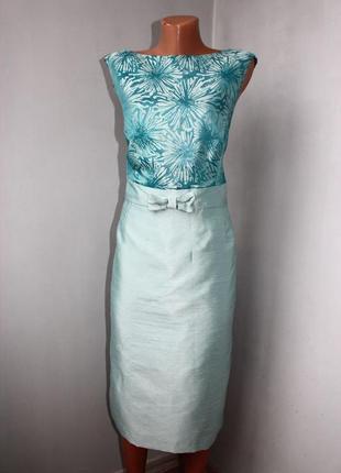Платье футляр матовый атлас: юбка с завышенной талией, топ - гобелен, 18