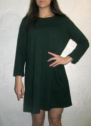 Платье туника h&m прямое свободное с карманами зелёное тёмное повседневное демисезонное