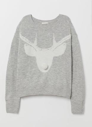 Вязанный свитер h&m с камнями и бусинами