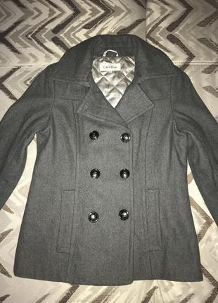 Шерстяное пальто полупальто calvin klein