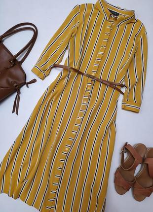 Стильное платье рубашка миди в полоску