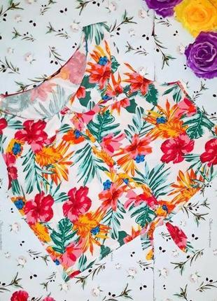 🎁1+1=3 яркая оригинальная блуза топ в гавайском стиле цветочный принт, размер 50 - 52