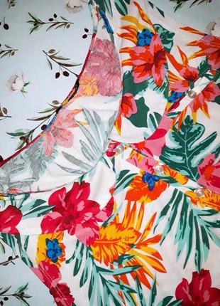 🎁1+1=3 яркая оригинальная блуза топ в гавайском стиле цветочный принт, размер 50 - 524 фото