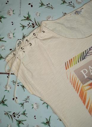 🎁1+1=3 модная бежевая женская футболка хлопок с принтом ms mode, размер 48 - 502 фото