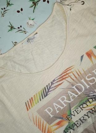 🎁1+1=3 модная бежевая женская футболка хлопок с принтом ms mode, размер 48 - 503 фото