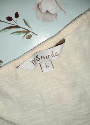 🎁1+1=3 модная бежевая женская футболка хлопок с принтом ms mode, размер 48 - 504 фото
