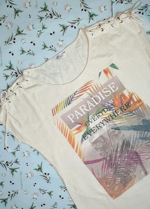 🎁1+1=3 модная бежевая женская футболка хлопок с принтом ms mode, размер 48 - 506 фото