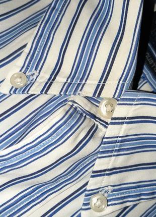 🎁1+1=3 белая рубашка в полоску с длинным рукавом ralph lauren оригинал, размер 48 - 505 фото